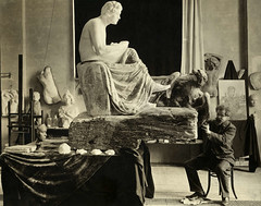Max Klinger at work on Beethoven sculpture, c.1902, photographer unknown
