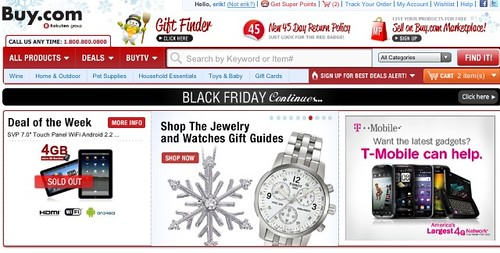 Buy.com home page, 1-hr before the start of Cyber Monday