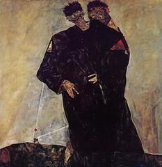 Hermits, Self Portrait with Klimt, 1912, by Egon Schiele