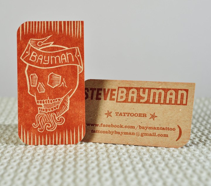 Steven Bayman (tattooer) :: letterpress business card