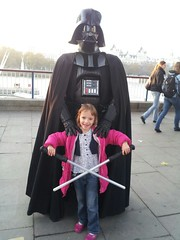 Millie and Darth Vader on the SOuth Bank