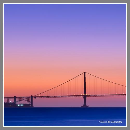 Golden Gate Bridge Sunset Color by davidyuweb