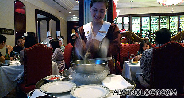 Lawry's Original Spinning Bowl Salad - tossed with Lawry's vintage dressing on a bed of ice
