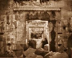 Kalabcheh (Talmis) - ruines du temple - vue intérieure du naos, 1851-2, by Félix Teynard