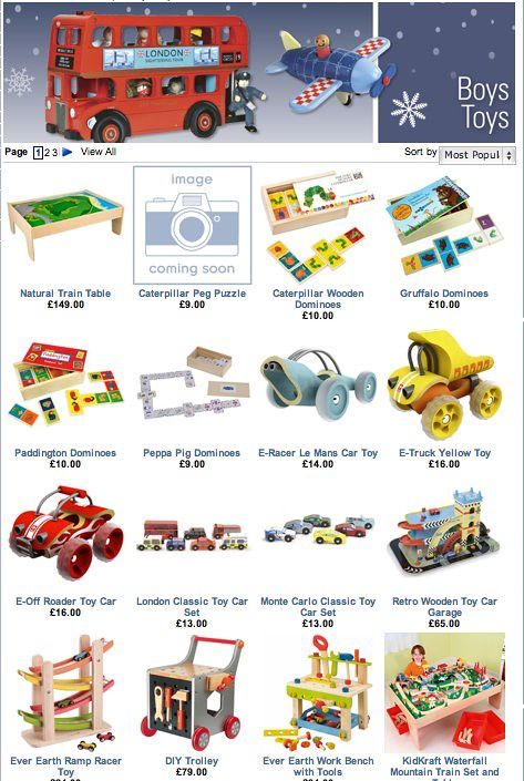 First page of Jojo Maman Bebe's online 'toys for boys' listings: mostly toy cars, trains, tools etc.
