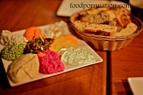 Mixed Dips $15 - Hummus, Baba ganush, Parsley, Chilli Carrot, Beetroot, Spinach, Jajik, Green Bean, Eggplant @ Sultan's Table, Enmore