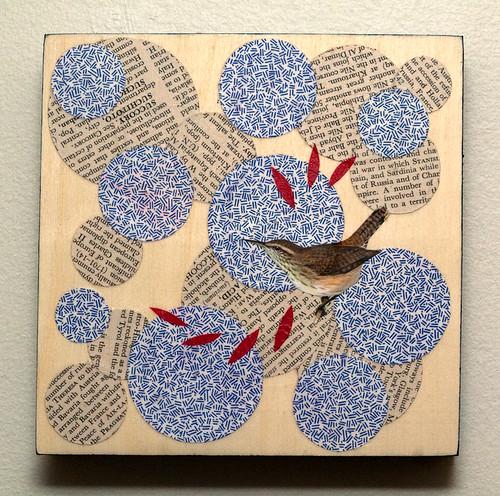 Bird collage on wood-3