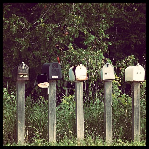 Letter boxes stand at the end of the road everyday, waiting.