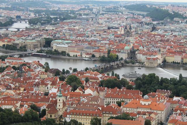 Pont Charles et Vieille ville vus depuis Petřin, Prague