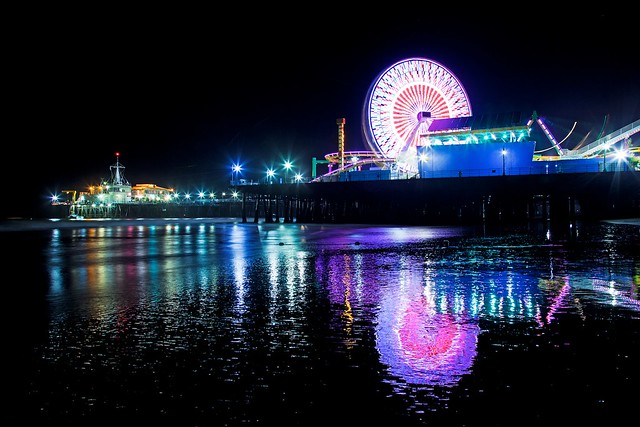 santa monica pier in the nightEric