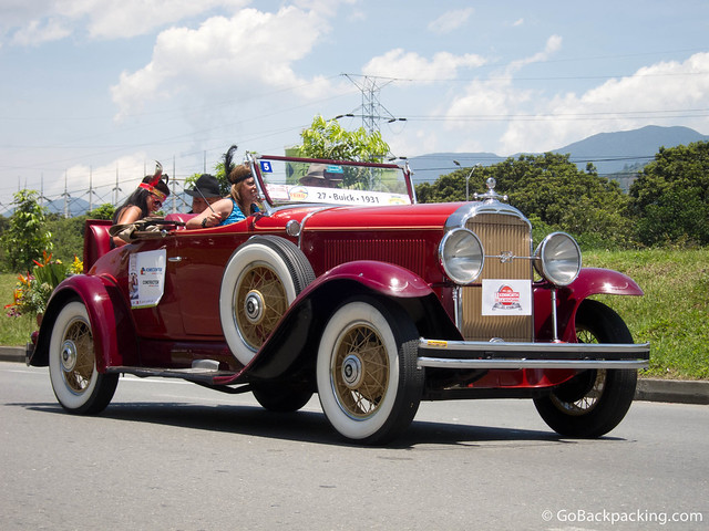 A 1931 Buick participates in the annual antique car parade