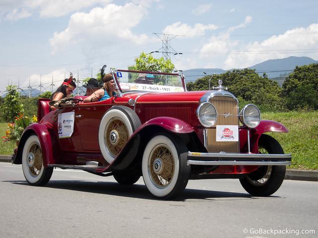 A 1931 Buick participates in the annual antique car parade