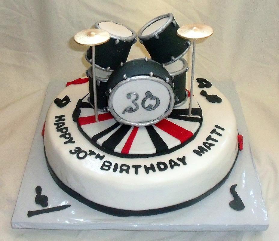 Edible Drum Set On Music Themed Fondant Birthday Cake