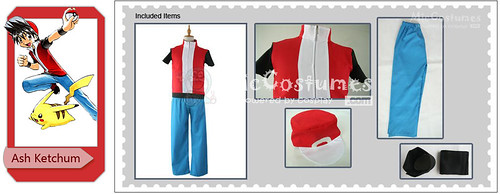 Pokemon Red Ash Ketchum Cosplay Costume
