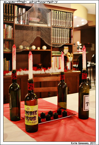 Wine Bottle candles & book shelf