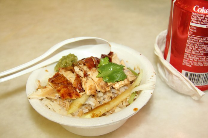 Lau Pa Sat - chicken rice and coke