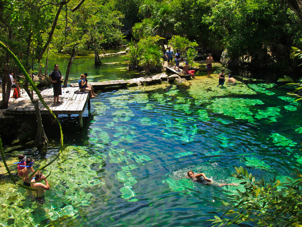 Swimming in a cenote, Yucatan