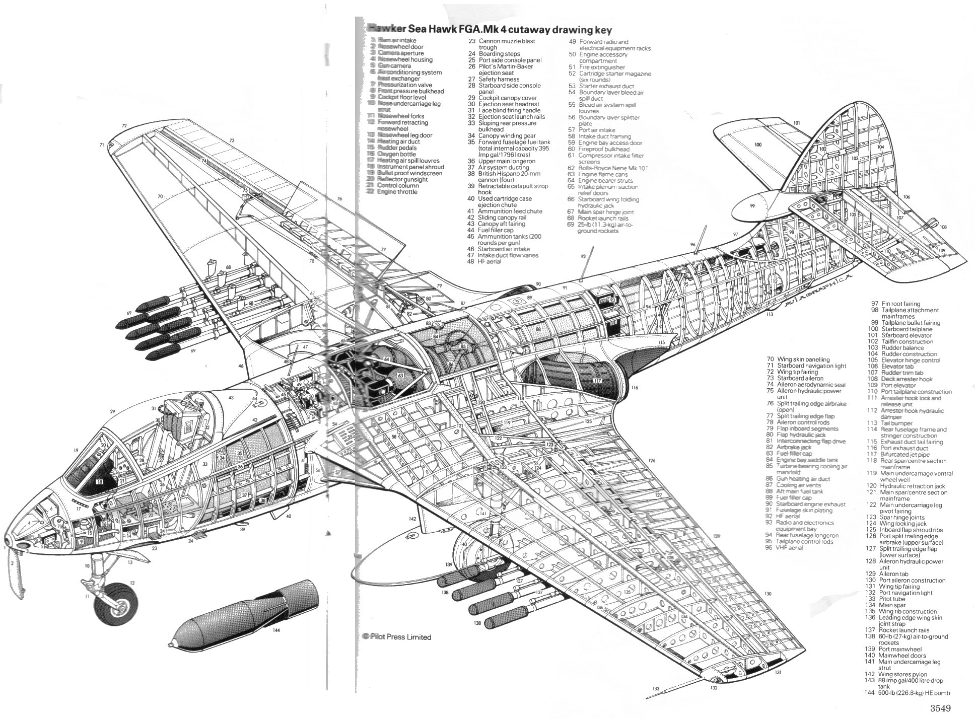 Hawker Sea Hawk Fga4 Cutaway Drawing Key