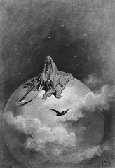 Death Depicted as the Grim Reaper on Top of the World, illustration from Edgar Allan Poe's, 'The Raven,' by Gustave Doré