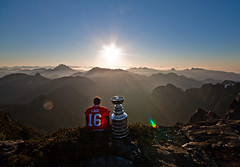Andrew Ladd was flown by helicopter to the top of Crown Mountain north of Vancouver to spend his day with the Stanley Cup, by Mark L. Johnson