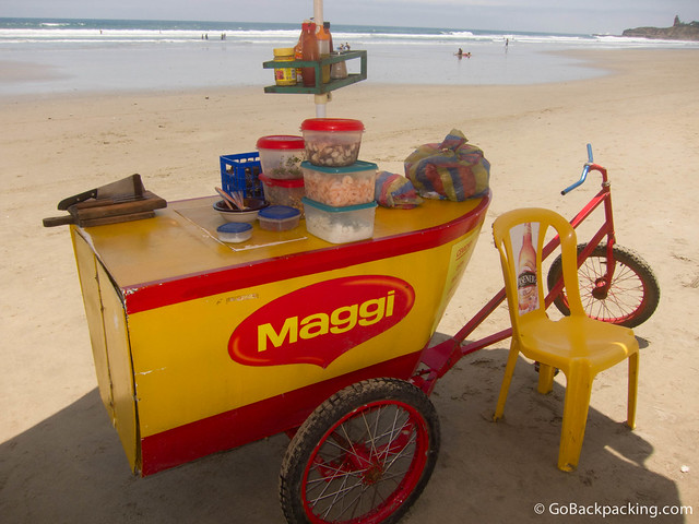Ceviche stand on the beach in Montanita