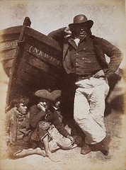 Sandy (or James) Linton, his boat and bairns, 1843-6, by Hill and Adamson
