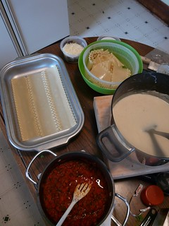 Roasted Red Pepper Lasagna Setup