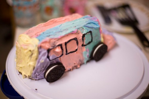 Awesome A Merry Prankster Inspired Bus Birthday Cake That Looks So Bad Funny Birthday Cards Online Overcheapnameinfo