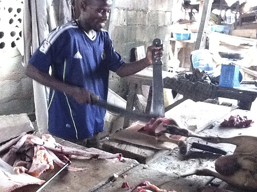 Bayo Eleran (butcher) in Gwarimpa Market by Jujufilms