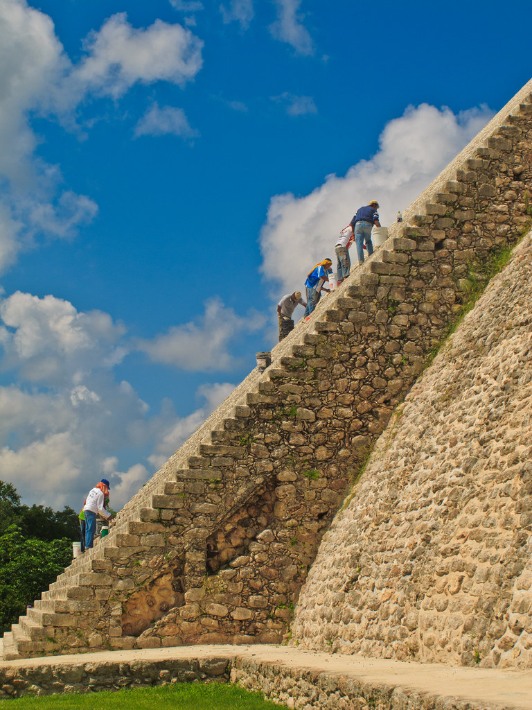 Maintenance on the staircase of the Pyramid of the Magician, Uxmal