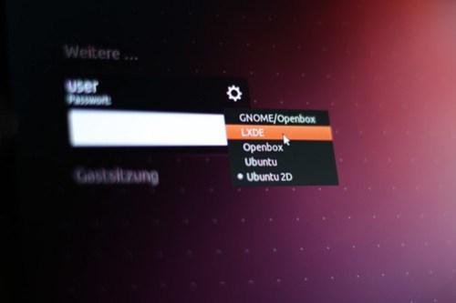 ubuntu login screen with alternative environment