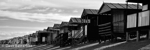 Chalets, Shadows and Clouds - B&W (18x6 crop)