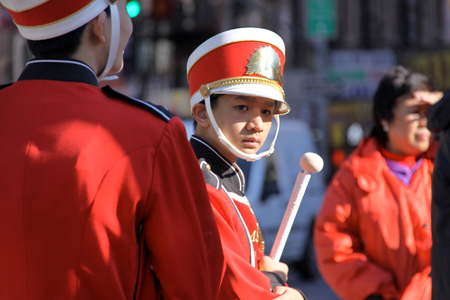 Teen Drummer Boy in the Crimson Kings - 2011 Chinatown Veteran's Day Celebration, Kimlau Square NYC