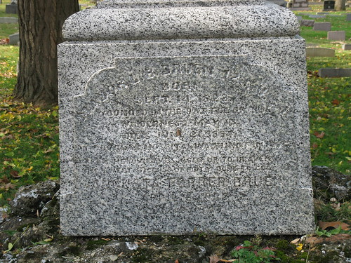 Luther B. Bruen tombstone inscription, Woodland Cemetery