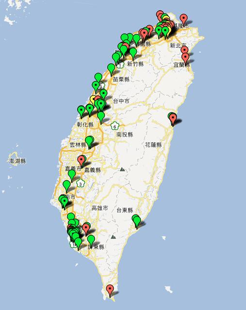 台北夜市分佈圖
