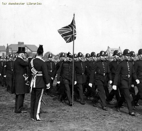 Colonel Eden Saluting the march past, 1910