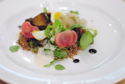 Jerusalem artichoke, onions cooked in hay, chickweed, quinoa, quail egg