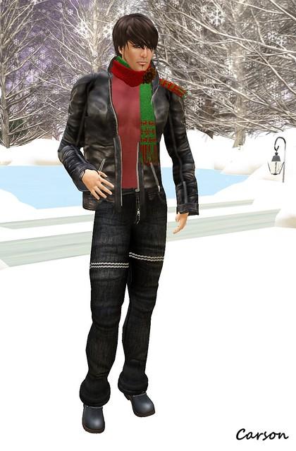 KamreK Creations - MENStuff Jeans,  K -  Knit Christmas Stole, 7Style -Blondo- boots, PHILO - Dean Vein Shirt & Jacket