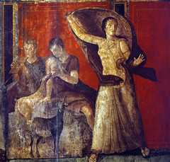 Breastfeeding child and Frightened Woman, Pompeii, Villa of Mysteries, photographer unknown