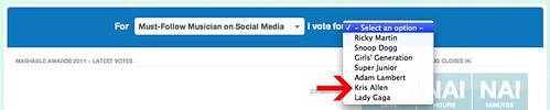 Vote Kris Allen for Mashable Must-Follow Musician on Social Network award