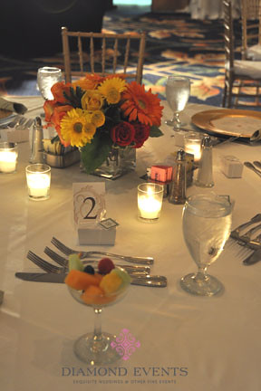Low Centerpieces Roses, Gerbera Daisies, Red Yellow, Orange