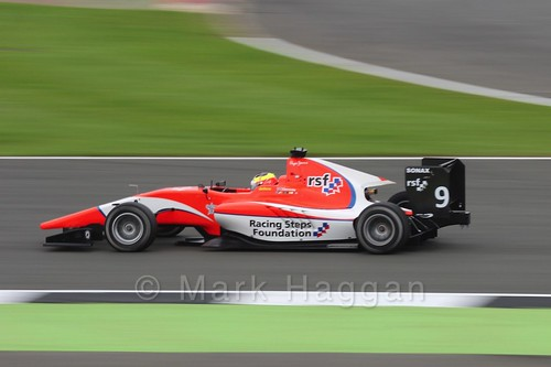 Jake Dennis in the Arden International car in qualifying for GP3 at the 2016 British Grand Prix