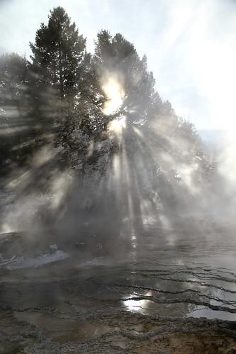 Sunlight through steam at Mammoth Terraces