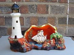 Kitsch 1950's Vallauris Lighthouse / Seascape / Sailboat TV Lamp