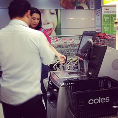 Self Service Scan Checkout at Coles Supermarket