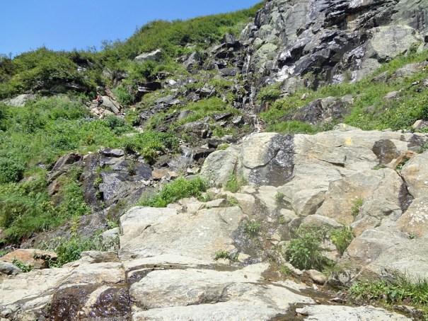 Tuckerman Ravine Trail hike wet from springs