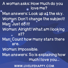 A woman asks: How much do you love me?  Man an...