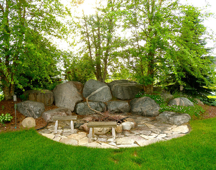 Outdoor Fireplaces | Backyard Fire Pits | Boulder Images Inc on Fireplace In Yard id=77865