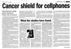 Cancer  Shield for Cellphones - June 11, 2001