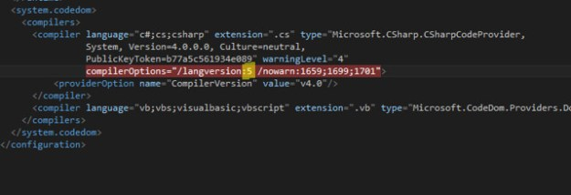 Web.config for VS2013